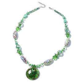Murano Style Glass, Ceramic, Simulated Peridot Beads, Green Quartzite, Simulated Grey Moonstone and Multi Colour Beads BIB Necklace (Size 28) in Silver Bond.
