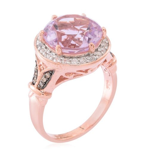 Rose De France Amethyst (Rnd), Natural White Cambodian Zircon and Natural Champagne Diamond Ring in Rose Gold Overlay Sterling Silver 7.750 Ct. Silver wt 6.70 Gms.