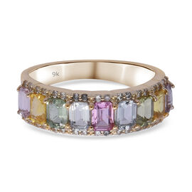 Limited Available 9K Yellow Gold Natural Rainbow Sapphire and Natural White Cambodian Zircon Ring 2.