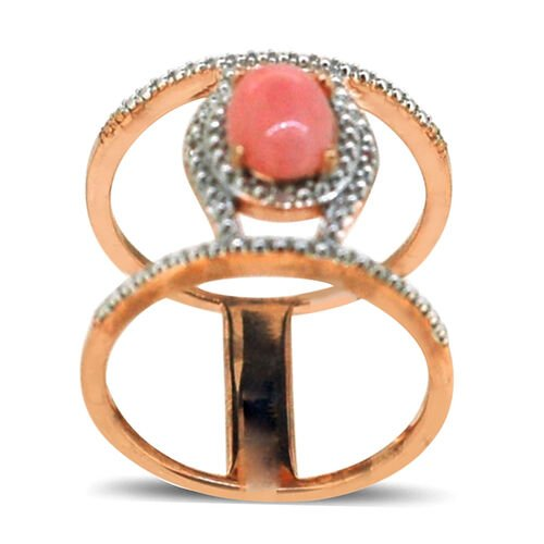 Peruvian Pink Opal (Ovl 1.75 Ct), White Topaz Ring in 14K Rose Gold Overlay Sterling Silver 1.770 Ct.