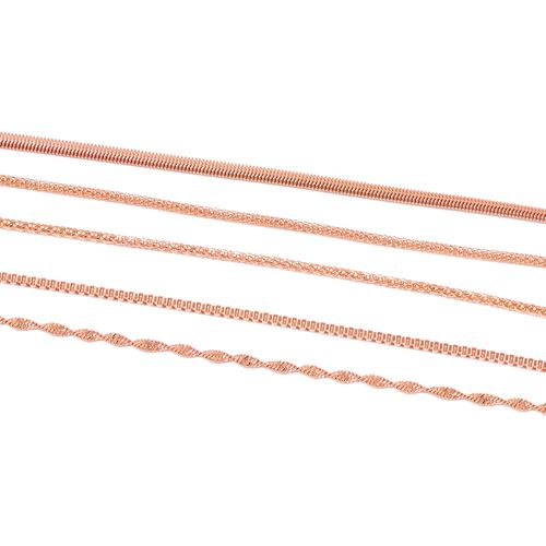 Set of 5 - Snake, Twisted Herringbone, Popcorn, Mesh and Box Necklace (Size 20) in Stainless Steel with Rose Gold Overlay