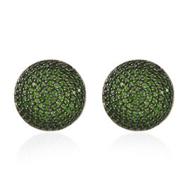 4 Ct Russian Diopside Stud Earrings in black and platinum plated Silver