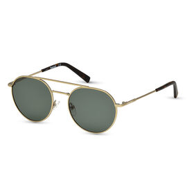 TIMBERLAND Gold Retro Aviator Sunglasses with Green Lenses