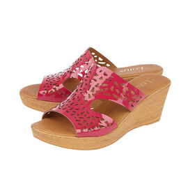 Lotus Bessia Wedge Sandals in Fuchsia Pink Colour