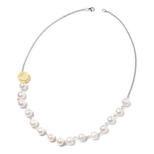 Jardin Collection - 2 Piece Set - Freshwater Pearl and Yellow Mother of Pearl Necklace (Size 20) and Hook Earrings in Rhodium Overlay Sterling Silver, Silver wt 5.00 Gms