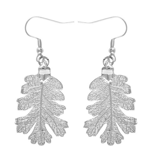 Real Lacey Oak Leaf Hook Earrings Dipped in Silver