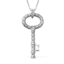 Close Out ELANZA Simulated Diamond (Rnd) Key Necklace (Size 18) in Rhodium Overlay Sterling Silver 6
