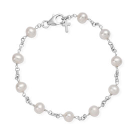 One Time Deal- Freshwater Pearl Bracelet (Size 7.5) with Cross Charm in Sterling Silver, Silver wt 2