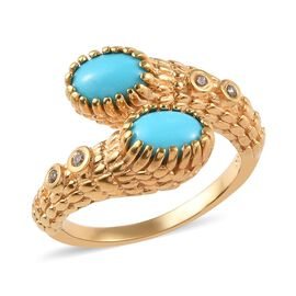 AA Arizona Sleeping Beauty Turquoise (Ovl), Natural Cambodian Zircon Bypass Ring in 14K Gold Overlay
