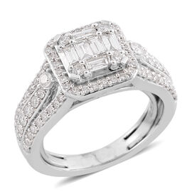 New York Close Out - 14K White Gold Diamond (Bgt and Rnd) (I1-I2/G-H) Ring (Adjustable I - N) 1.000 Ct, Gold wt 6.10 Gms.