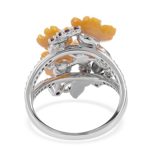 JARDIN COLLECTION - Yellow Mother of Pearl, Fresh Water White Pearl, Rhodolite Garnet and Multi Gemstone Floral Enameled Ring in Rhodium and Gold Overlay Sterling Silver, Silver wt 5.45 Gms