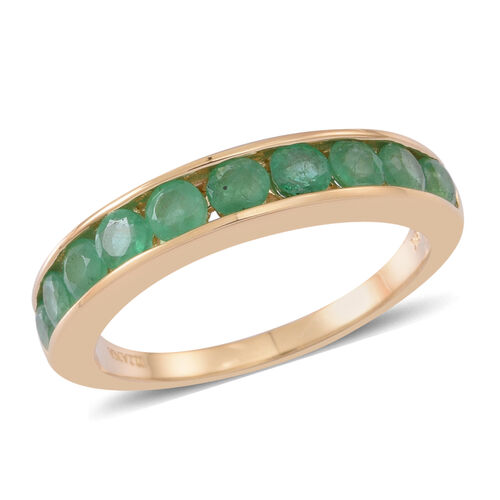 ILIANA 1 Ct AAA Kagem Zambian Emerald Half Eternity Band Ring in 18K Gold 4.10 Grams