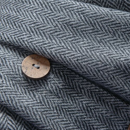 Woollen  Grey Twill Weave Cape with  Peter Pen Collar and Wooden Buttons - One Size