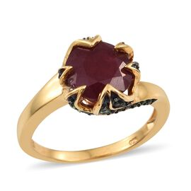 African Ruby (Rnd 5.10 Ct), Tsavorite Garnet Ring in Black Rhodium and Yellow Gold Vermeil Sterling Silver 5.500 Ct.