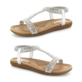 OLLY Mags Cushioned Toe Post Sandal in Silver Colour