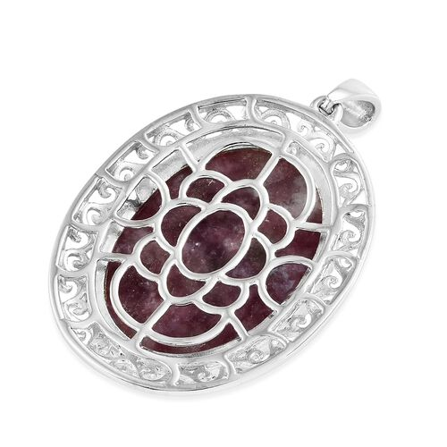 One Time Deal- Very Rare Natural Lepidolite (Ovl 30x22mm) Pendant in Silver Plated 40.750 Ct