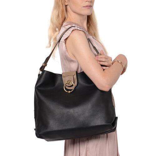 Metallic Black Tote Bag with Zipper Closure (Size 40x13x34 Cm)