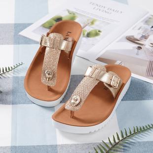 LA MAREY Open-Toe Adjustable Slippers - Gold