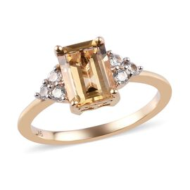 9K Yellow Gold Imperial Topaz and Natural Cambodian Zircon Ring 2.15 Ct.