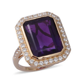 11.34 Ct Amethyst and Zircon Halo Ring in Gold Plated Silver 5.95 Grams