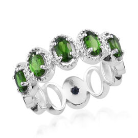 GP Russian Diopside (Ovl), Kanchanaburi Blue Sapphire Ring in Platinum Overlay Sterling Silver 1.250 Ct.
