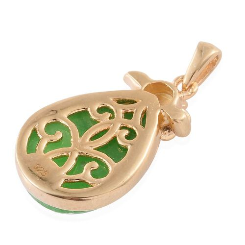 Green Jade (Pear) Solitaire Pendant in 14K Gold Overlay Sterling Silver 8.000 Ct. Silver wt. 3.45 Gms.