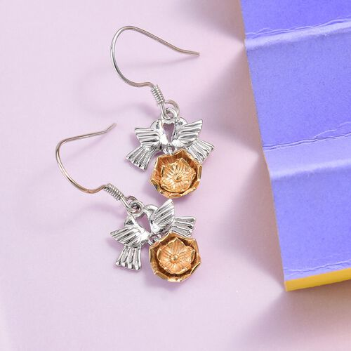 Platinum and Yellow Gold Overlay Sterling Silver Bird Earrings