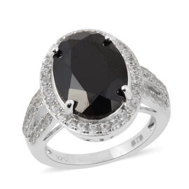 8.05 Ct Boi Ploi Black Spinel and Zircon Halo Ring in Rhodium Plated Silver
