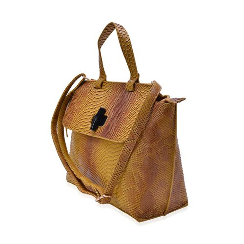 Bamboo Collection Yellow and Multi Colour Snake Embossed Tote Bag with External Zipper Pocket and Adjustable and Removable Shoulder Strap (Size 42x27x12 Cm)