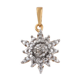 Diamond (Rnd) Snowflake Pendant in 14K Gold Overlay Sterling Silver