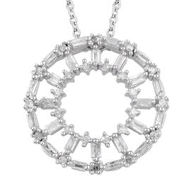 Diamond (Bgt) Circle of Life Pendant With Chain (Size 20) in Platinum Overlay Sterling Silver 0.330