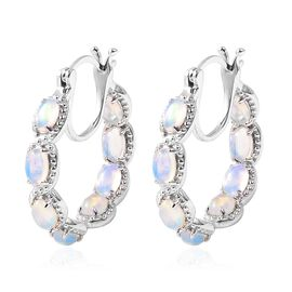 2.50 Ct Ethiopian Welo Opal Hoop Earrings in Rhodium Plated Silver 6.25 Grams