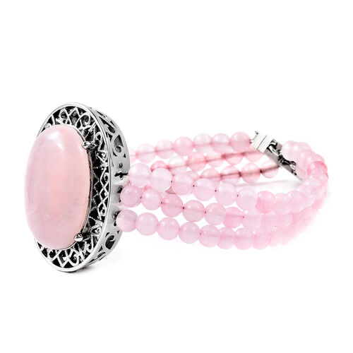 Rose Quartz Bracelet (Size 7.5) with Magnetic Clip in Stainless Steel 70.00  Ct.