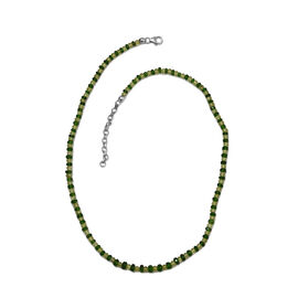 Hebei Peridot (Rnd), Russian Diopside Bead Necklace (Size 18 with 2 inch Extender) in Platinum Overl