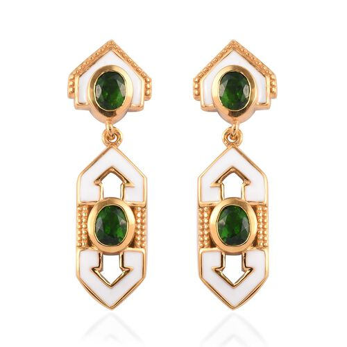 Russian Diopside Enamelled Earrings (with Push Back) in 14K Gold Overlay Sterling Silver 1.50 Ct, Si