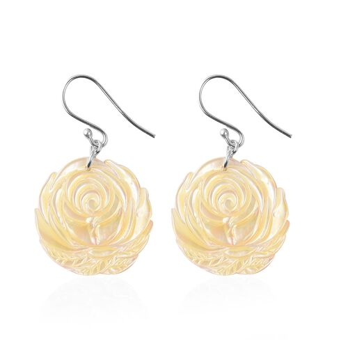 Carved Yellow Mother of Pearl Rose Hook Earrings in Rhodium Overlay Sterling Silver
