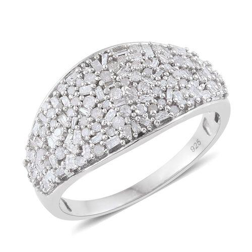 Designer Inspired-Fireworks Diamond Cluster Ring in Platinum Overlay Sterling Silver 1.000 Ct.