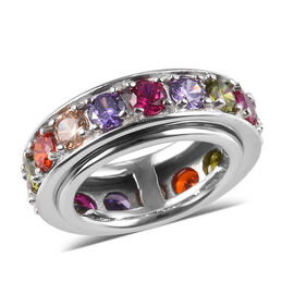 Spinner Ring- Simulated Rainbow Sapphire and Simulated Multi Gemstone Eternity Band Ring in Platinum