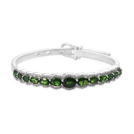 9 Carat Russian Diopside and Cambodian Zircon Bangle in Sterling Silver 24.88 Grams