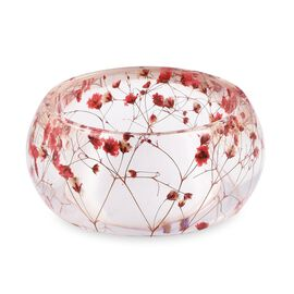 Handmade Red Colour Real Dried Flower Resin Bangle
