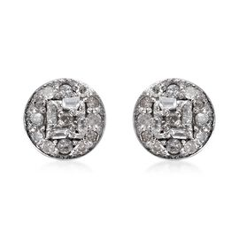 Diamond Cluster Stud Earrings in Platinum Plated Sterling Silver 0.20 Ct