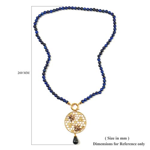 Sundays Child - Blue Tiger Eye and Hawks Eye Detachable Beaded Necklace (Size 22) in 14K Gold Overlay Sterling Silver 140.00 Ct