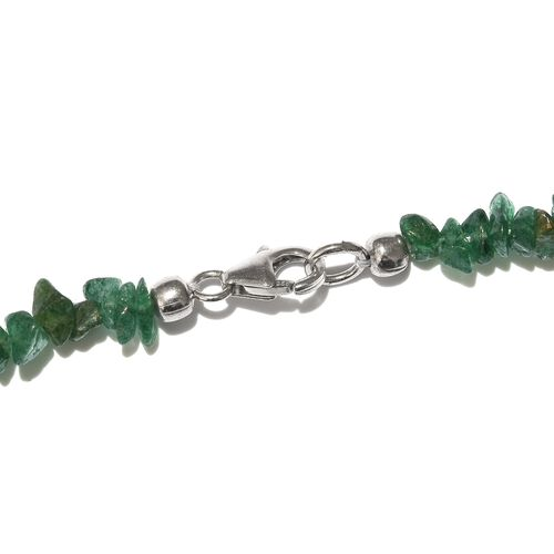 Green Aventurine Necklace (Size 20) with Lobster Lock in Platinum Overlay Sterling Silver 192.000 Ct.