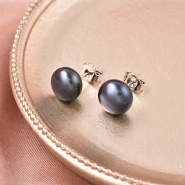 Freshwater Blue Peacock Pearl Stud Earrings (with Push Back) in Rhodium Overlay Sterling Silver