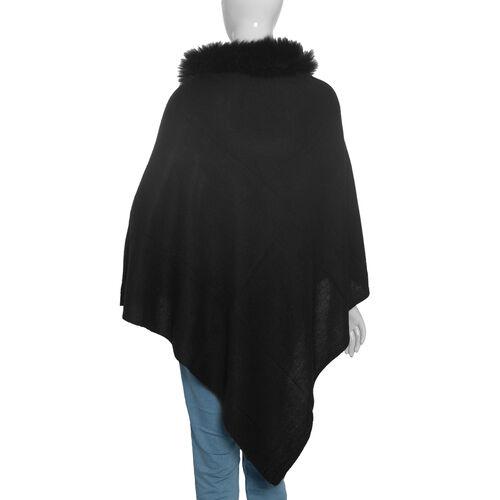 100 % Cashmere Wool Black Colour Pashmina Poncho (Size 70x70 Cm)