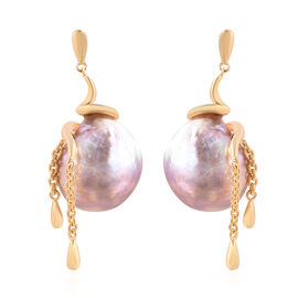 LucyQ - Freshwater Purple Baroque Pearl Earrings (with Push Back) in Yellow Gold Overlay Stelring Si