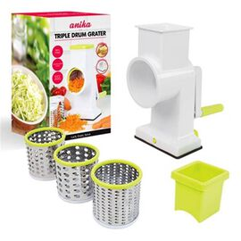 Multi Functional Drum Rotary Grater with 3 Blades - Green and White