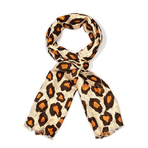 Brown Colour Leopard Pattern Scarf Size 180x70 Cm