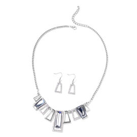 2 Piece Set Simulated Grey Spinel and White Crystal Necklace and Earrings 20 with 2 inch Extender