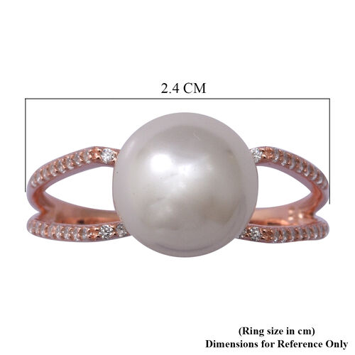 Simulated White Pearl and Simulated Diamond Ring in Rose Gold Overlay Sterling Silver
